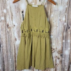 Lush Crochet Lazer Cut Mustard Sleeveless Dress